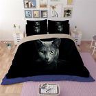 Black Cat Animal Print Quilt Duvet Doona Cover Set Queen King Size Fitted Sheet