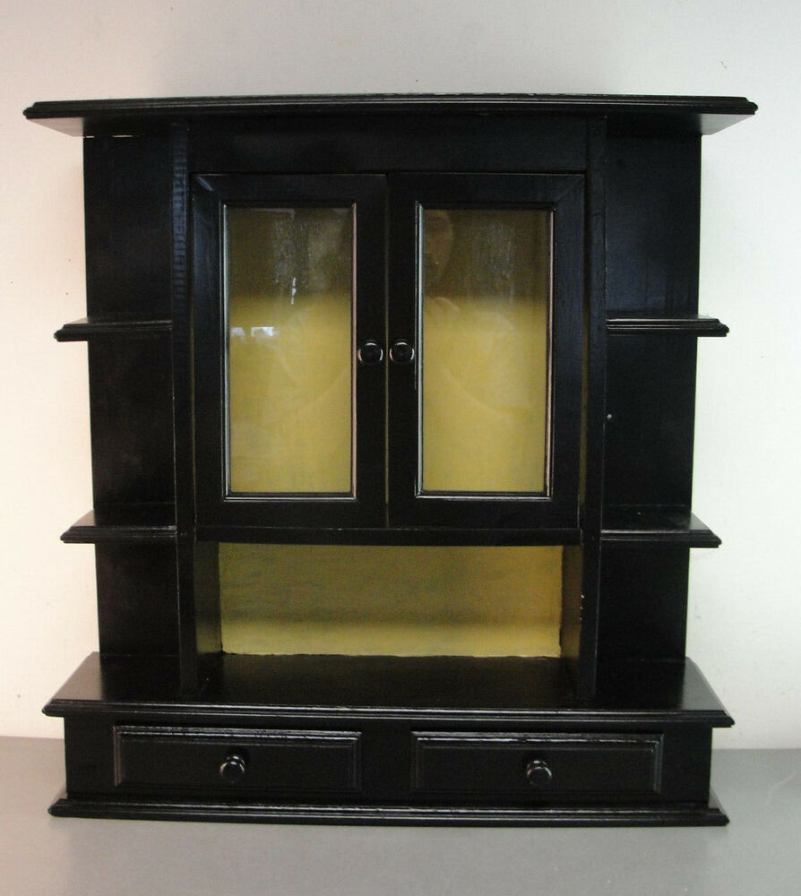 wall curio cabinet wood wooden wall hanging hung black painted curio display 28051