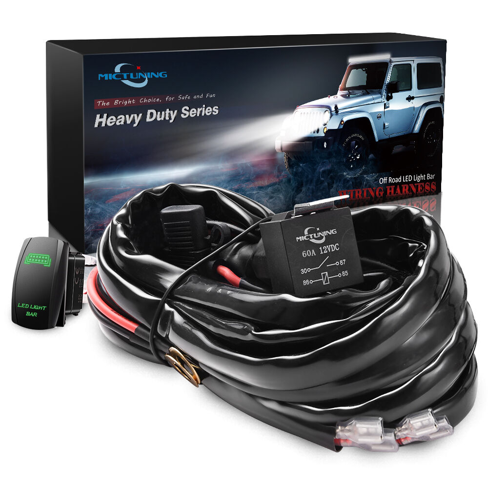 MICTUNING HD Wire Harness 12 AWG 600W LED Light Bar 60A Relay Fuse +Green  Switch