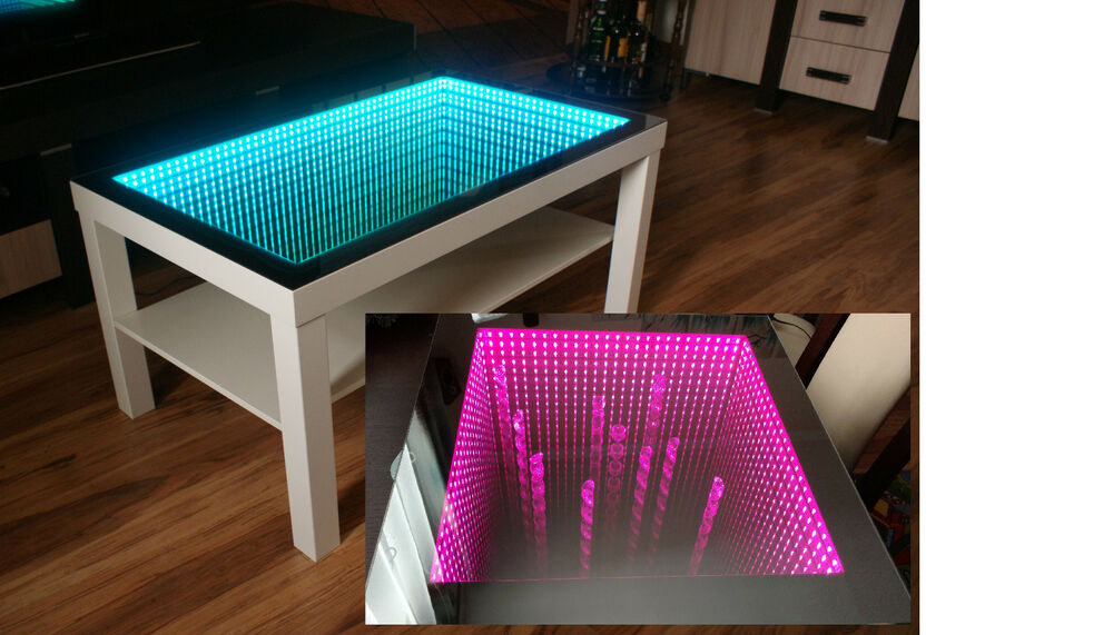 white table led 3d coffee table illuminated infinity mirror effect remote rf ebay. Black Bedroom Furniture Sets. Home Design Ideas