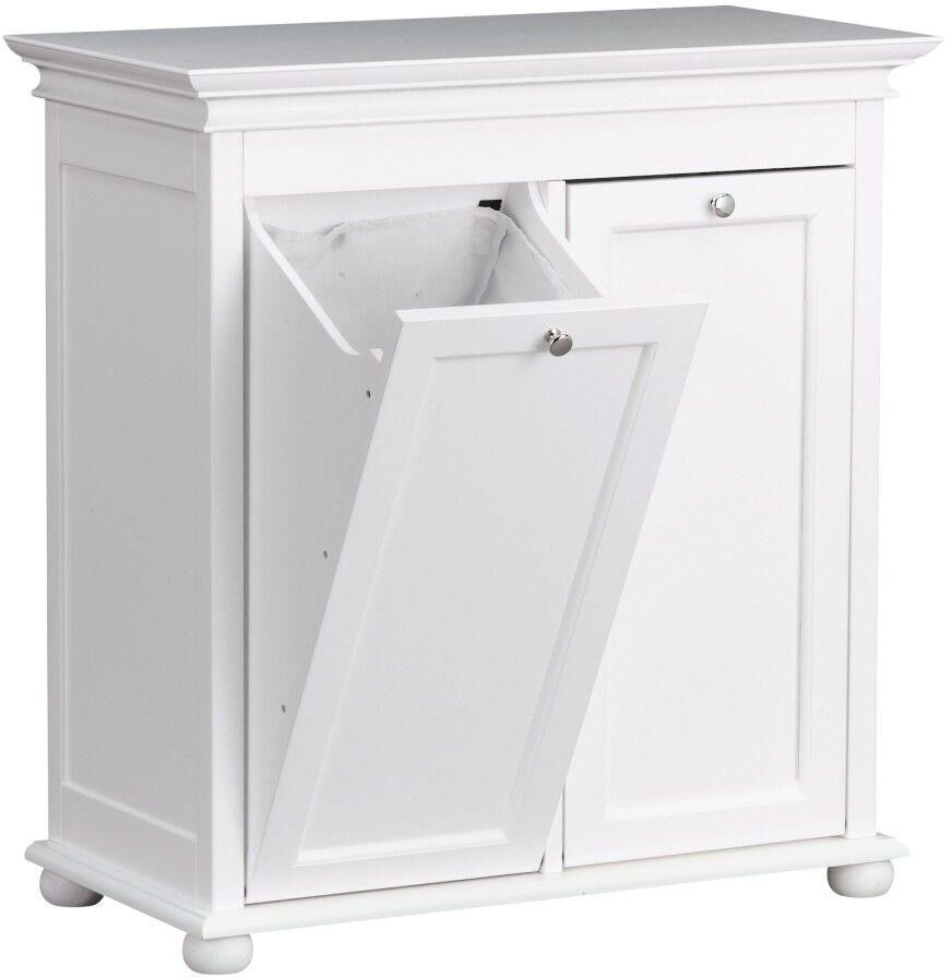 35 In Double Tilt Out Hamper Soild Wood White Home Storage