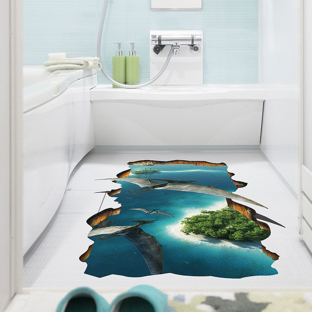 neu 3d dinosaurier fu boden sticker wasserdicht wandtatoo. Black Bedroom Furniture Sets. Home Design Ideas