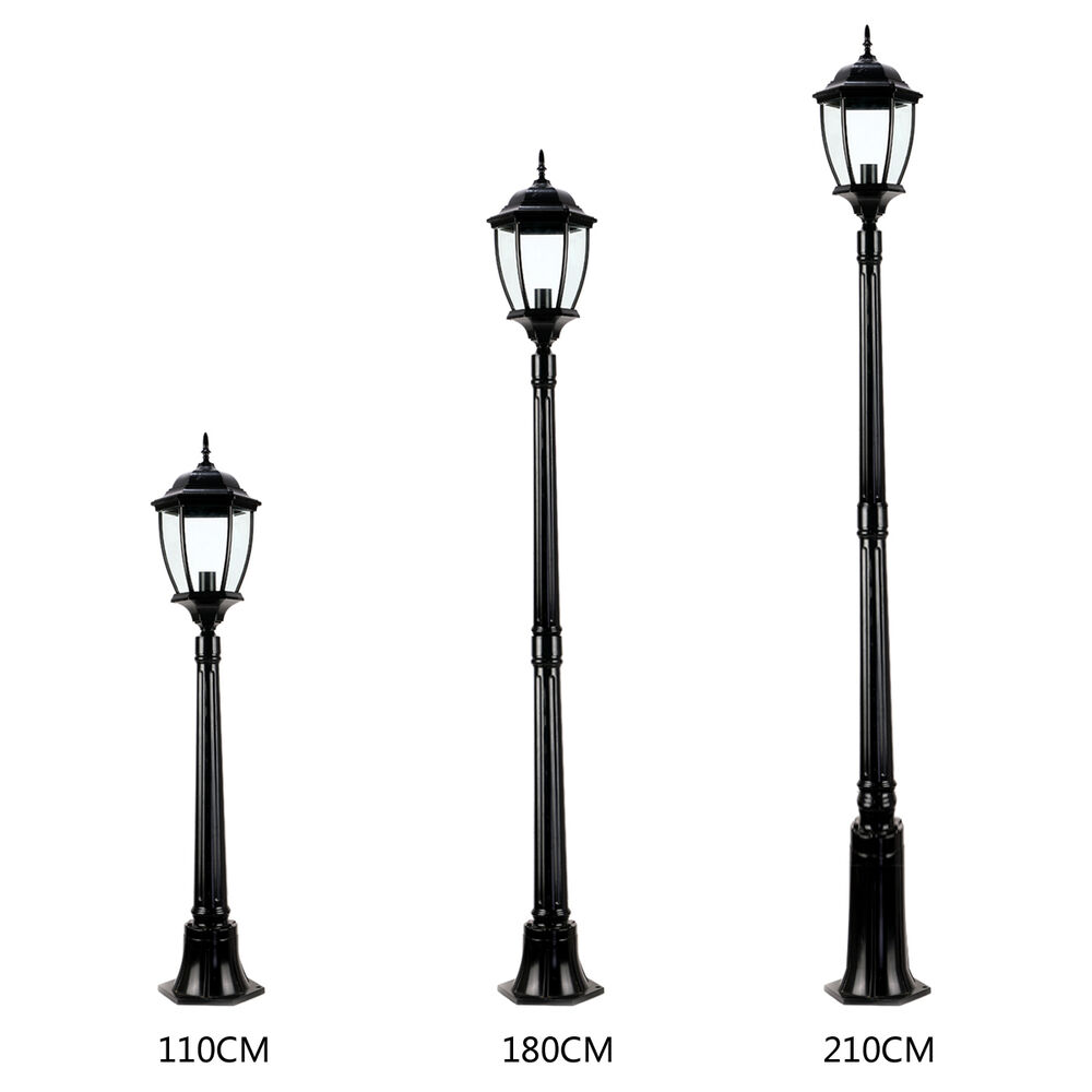 Outdoor Post Lights Led: 3 Sizes Garden Lights Lantern Lamp Black LED Pathway