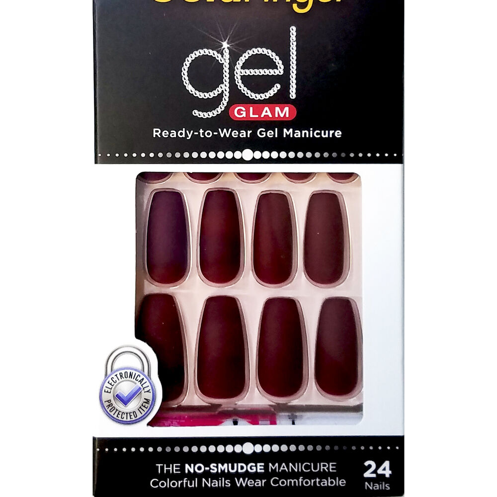 KISS GOLD FINGER GEL GLAM MANICURE GLUE ON MATTE COFFIN 24 ...