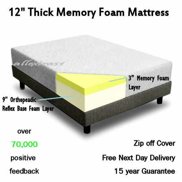 12 inch thick 5ft king bed size memory foam orthopaedic mattress vacuum packed ebay. Black Bedroom Furniture Sets. Home Design Ideas