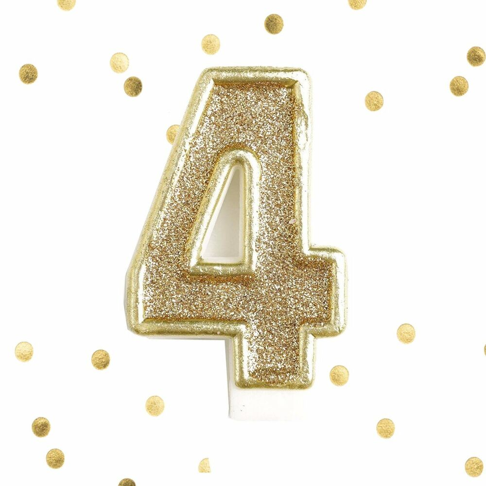 light gold glitter 4th birthday candle number 4 gold