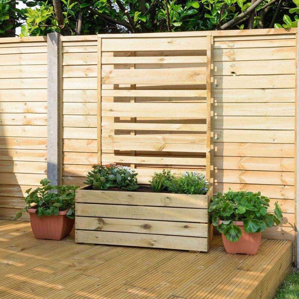 Wood planter with trellis screen liner ideal trailing for Trellis planter garden screen