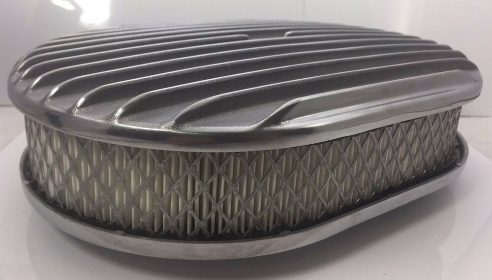 Oval Air Cleaner : Quot oval finned polished aluminum classic nostalgia air