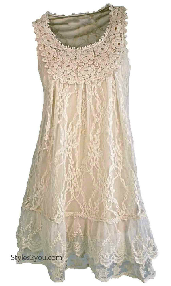Nwt Pretty Angel Clothing Anita Antique Lace Tunic In