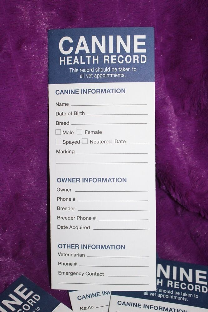 Canine Health Record Book