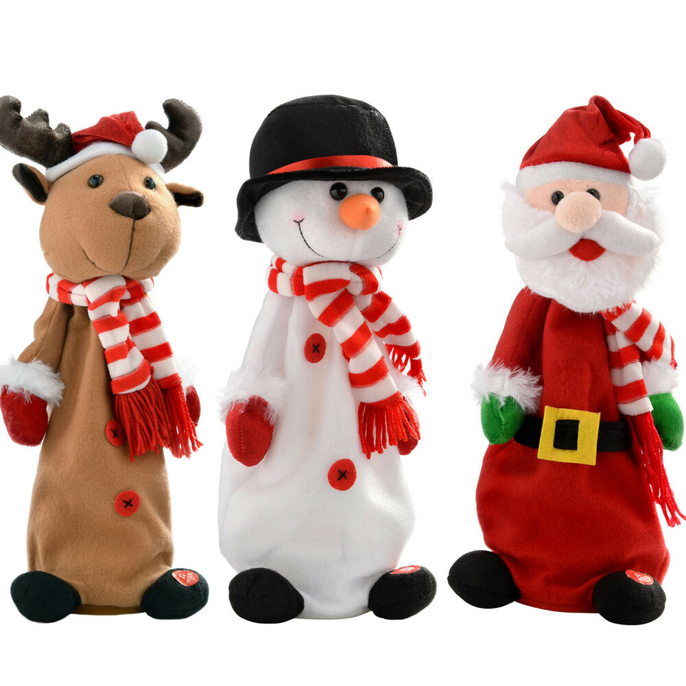 Singing Christmas Decorations: Musical Jumping And Singing Santa Snowman Reindeer