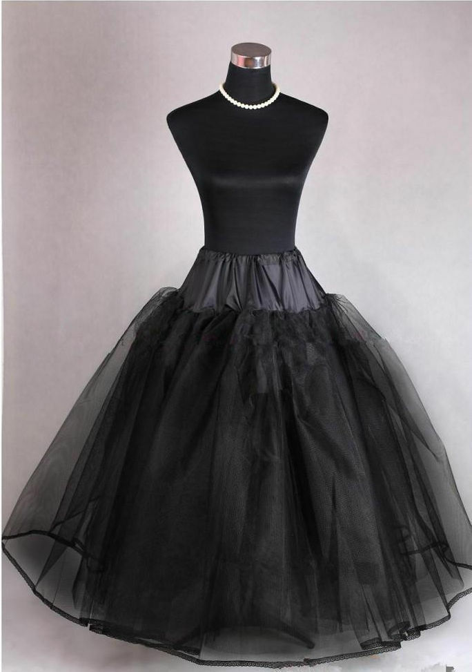 Black new 3 layer tulle no hoop wedding dress petticoat for Tulle petticoat for wedding dress