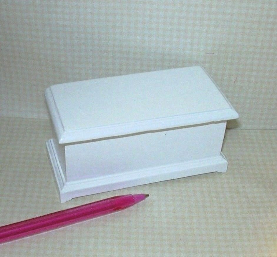 Miniature Classic Large White Toy Box: DOLLHOUSE