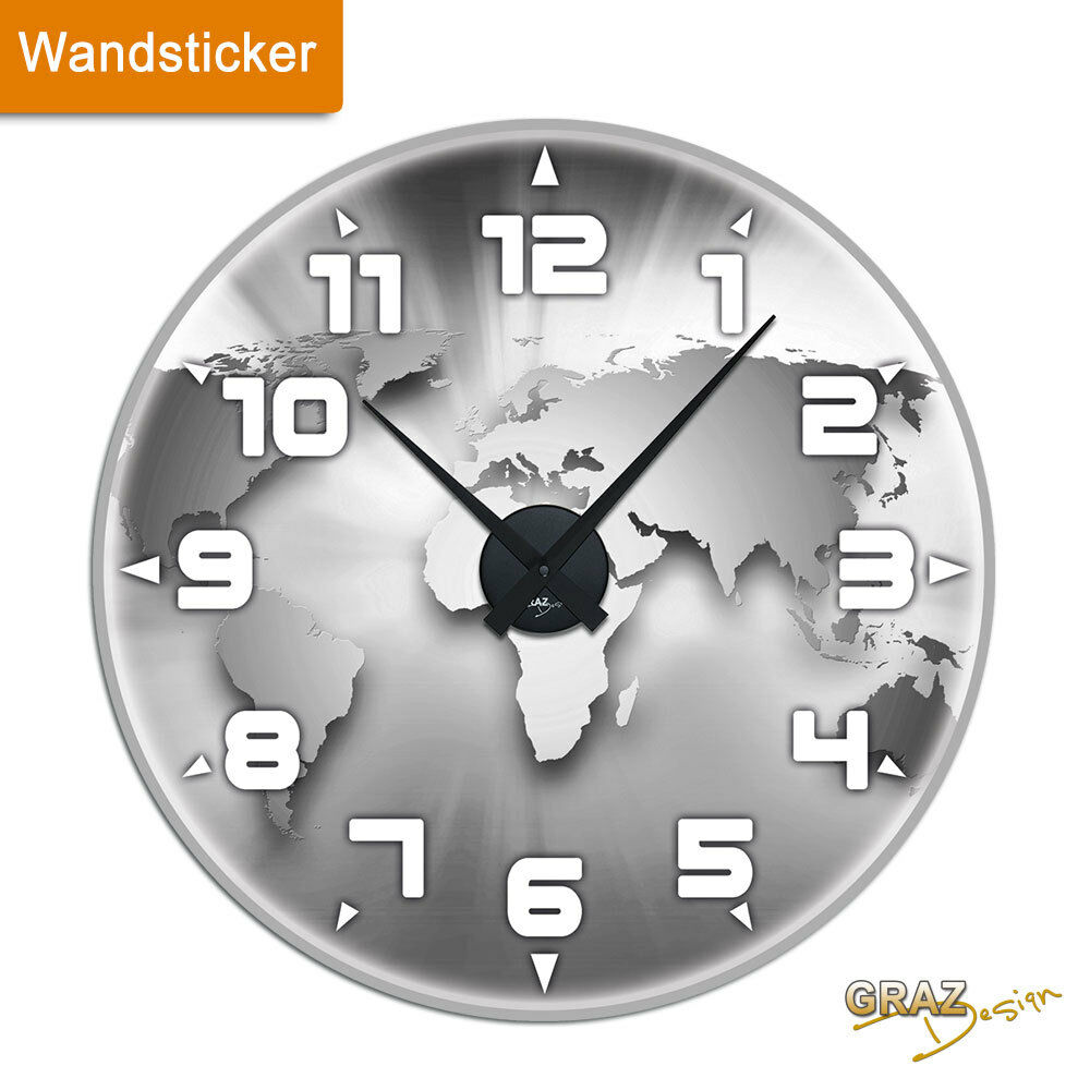 wandsticker uhr mit uhrwerk wanduhr wohnzimmer welt globus. Black Bedroom Furniture Sets. Home Design Ideas