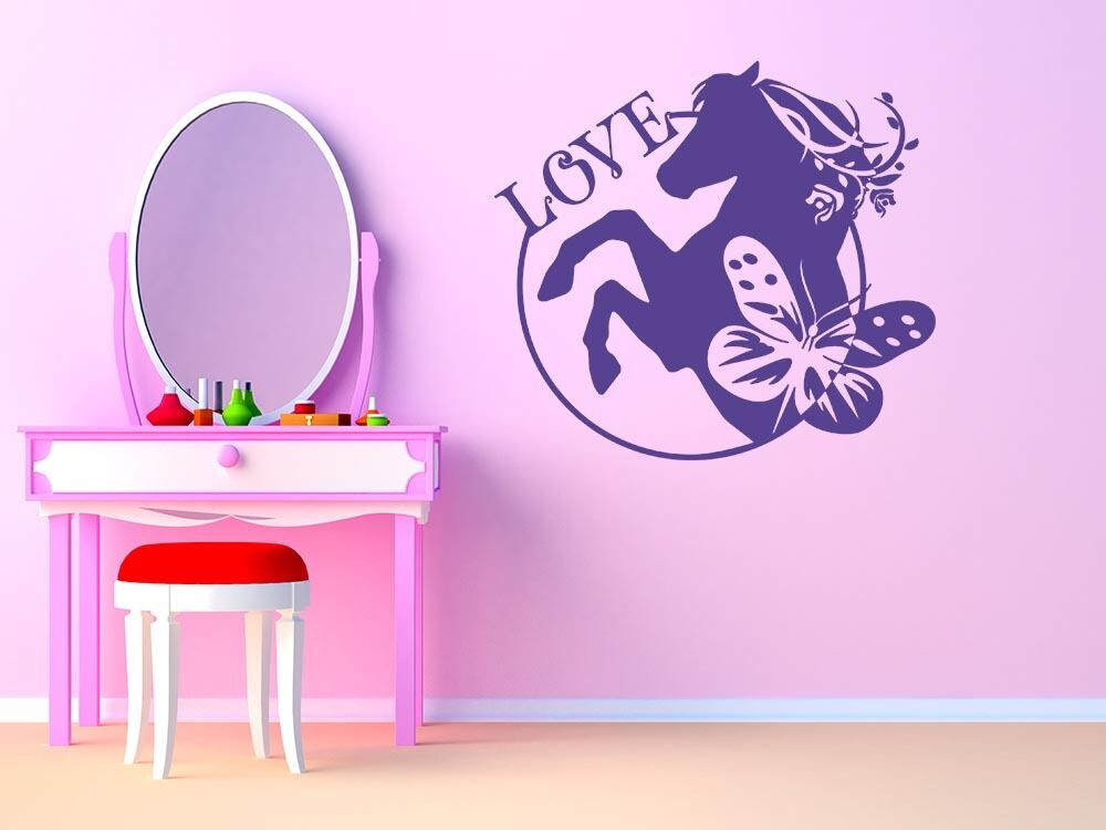 wandtattoo aufkleber design f r kinderzimmer pferd love blume m dchen ebay. Black Bedroom Furniture Sets. Home Design Ideas