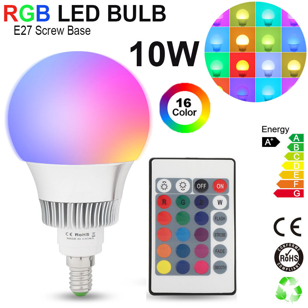 10w e27 rgb led birne farbwechsel lampe gl hbirne licht mit fernbedienung bulb ebay. Black Bedroom Furniture Sets. Home Design Ideas