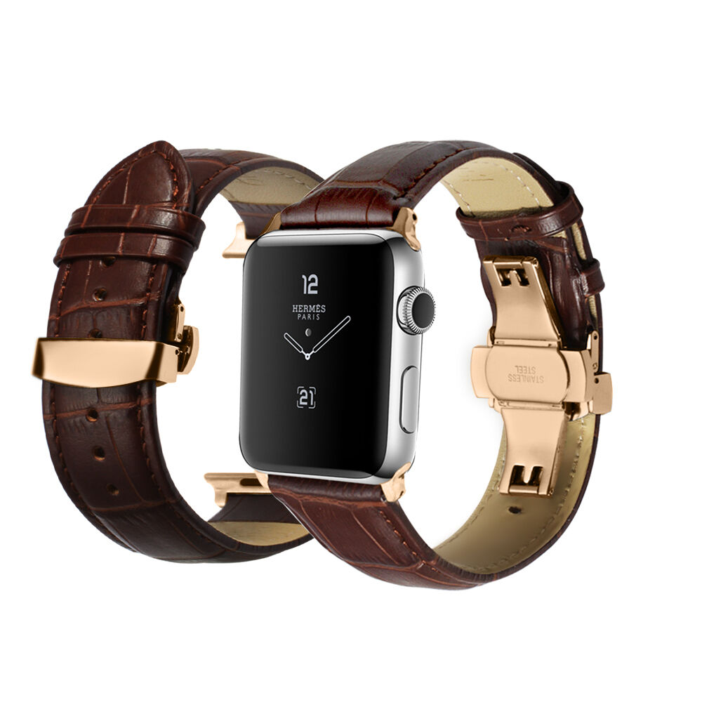 Apple Watch Band Iwatch Leather Strap Rose Gold Silver