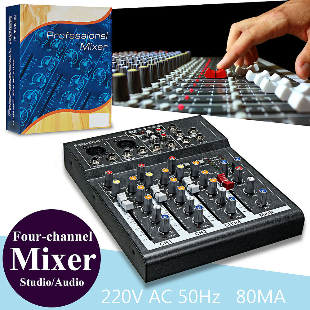 4 channel professional live studio audio sound usb mixer mixing console 48v ebay - Professional mixing console ...