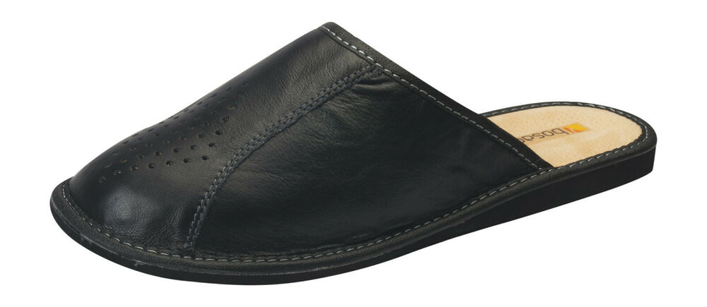 new mens comfort house slippers leather slip on shoes uk size 6 7 8