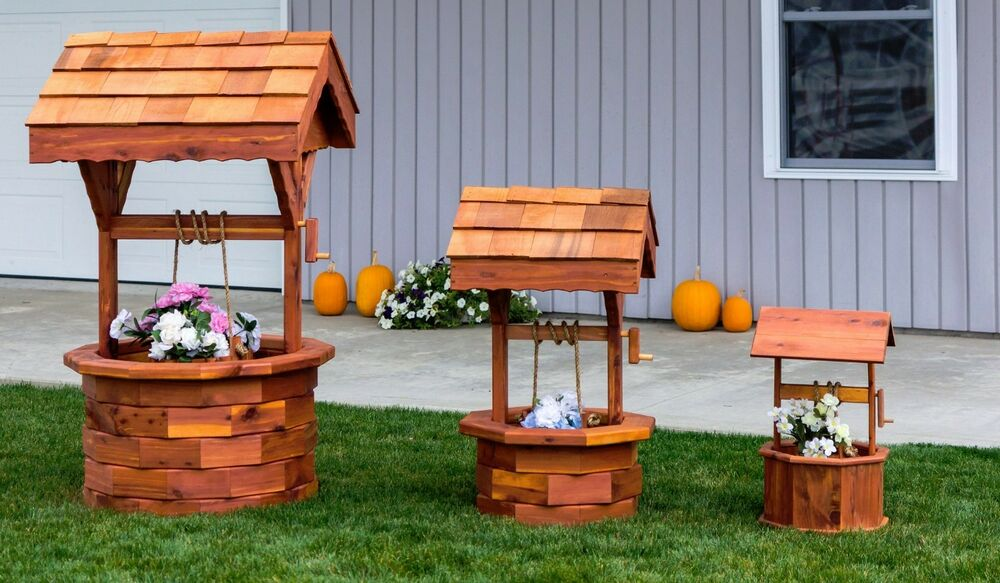 amish handcrafted cedar wishing well small medium large. Black Bedroom Furniture Sets. Home Design Ideas