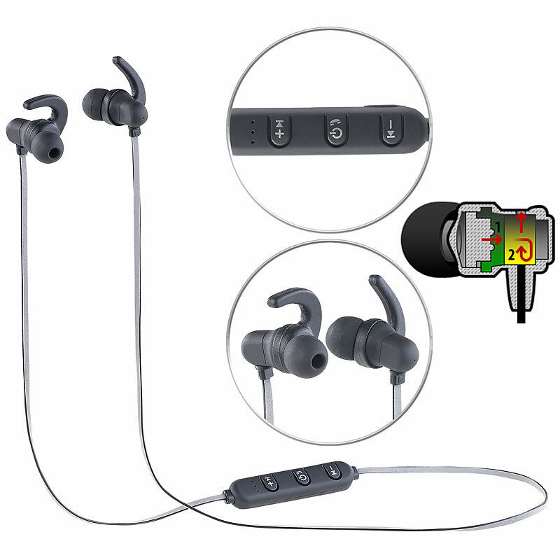 auvisio in ear headset mit bluetooth fernbedienung patentiertem soundsystem ebay. Black Bedroom Furniture Sets. Home Design Ideas