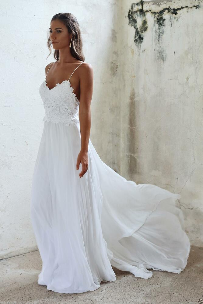 Sexy backless spaghetti beach wedding dress lace chiffon for White or ivory wedding dress