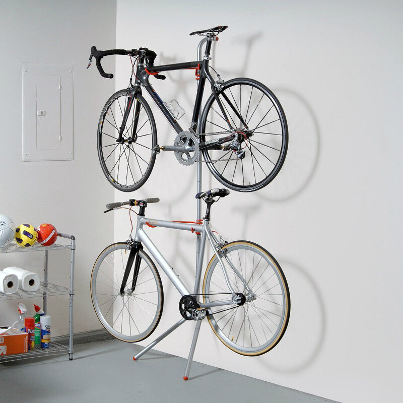 Bike Garage Storage Rack Stand 2 Bicycle Wall Gravity