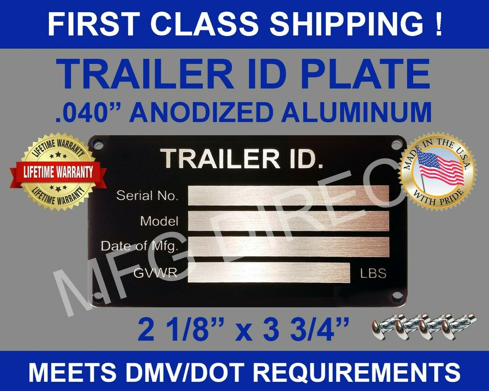 Boat Trailer Serial Number Plate Id Data Tag Vin New Blank License Registration