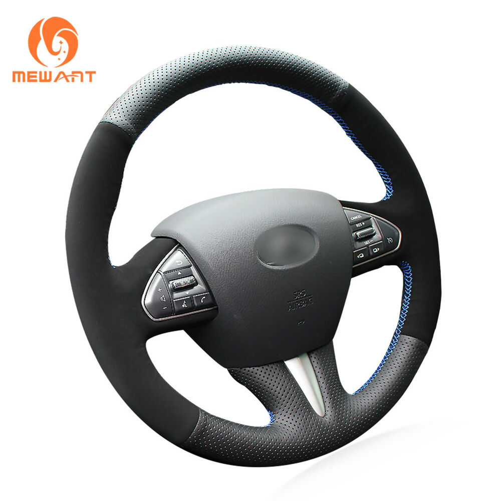 Top Black Leather Suede Car Steering Wheel Cover For