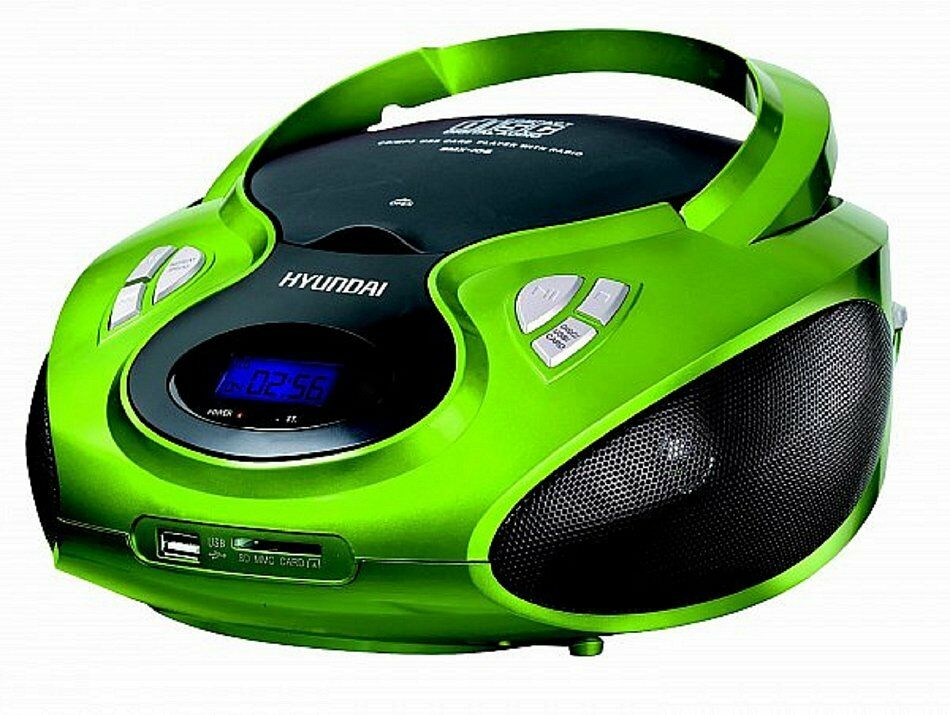 tragbares stereo radio cd player mit cd mp 3 player usb sd card aux in gr n ebay. Black Bedroom Furniture Sets. Home Design Ideas