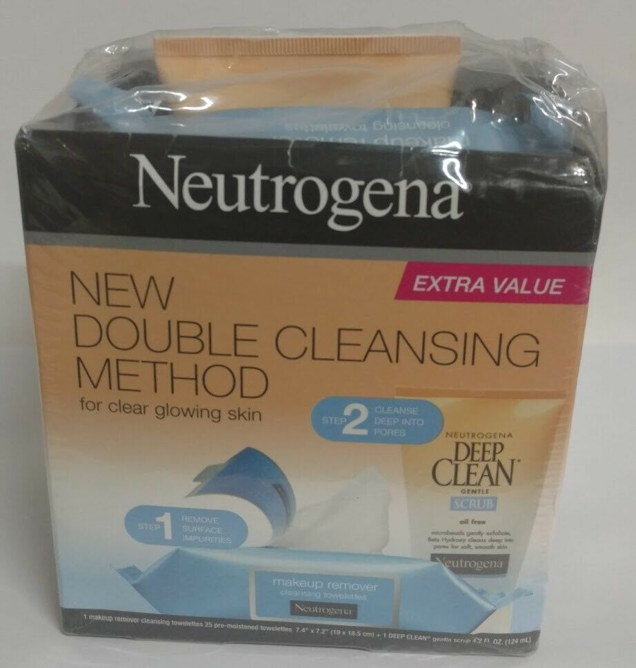 Neutrogena 2 Step Cleansing Kit For Glowing Skin Scrub & Cloths Double Cleansing  | eBay