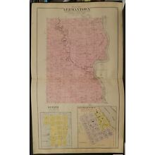 Wisconsin Juneau County Map Germantown Township   1898 Dbl Pg  Y10#90