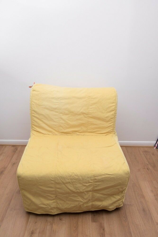 Ikea Lycksele Single Fold Out Guest Chair Bed Yellow Orange Covers