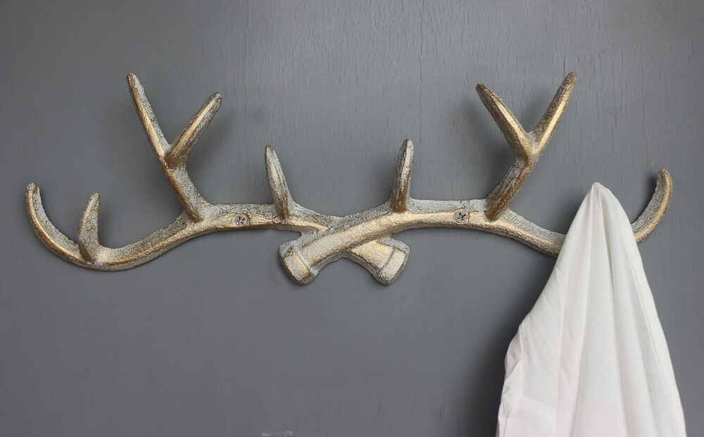 Vintage Cast Iron Deer Antlers Wall Hooks Shabby Chic Coat