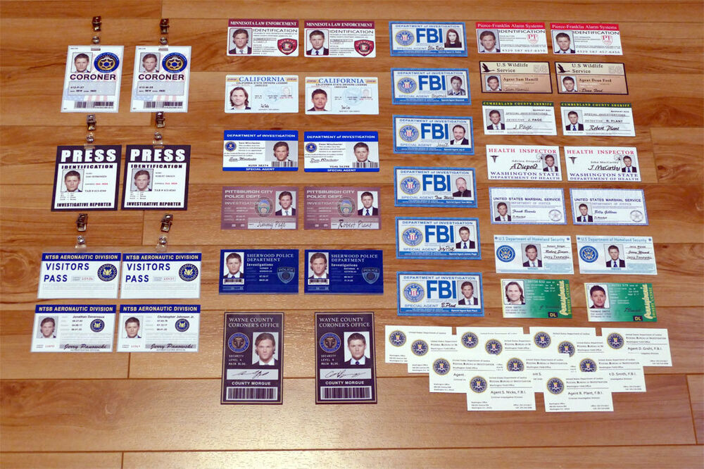 Supernatural prop costume cosplay - full set 40 ID Cards + 12 FBI ...