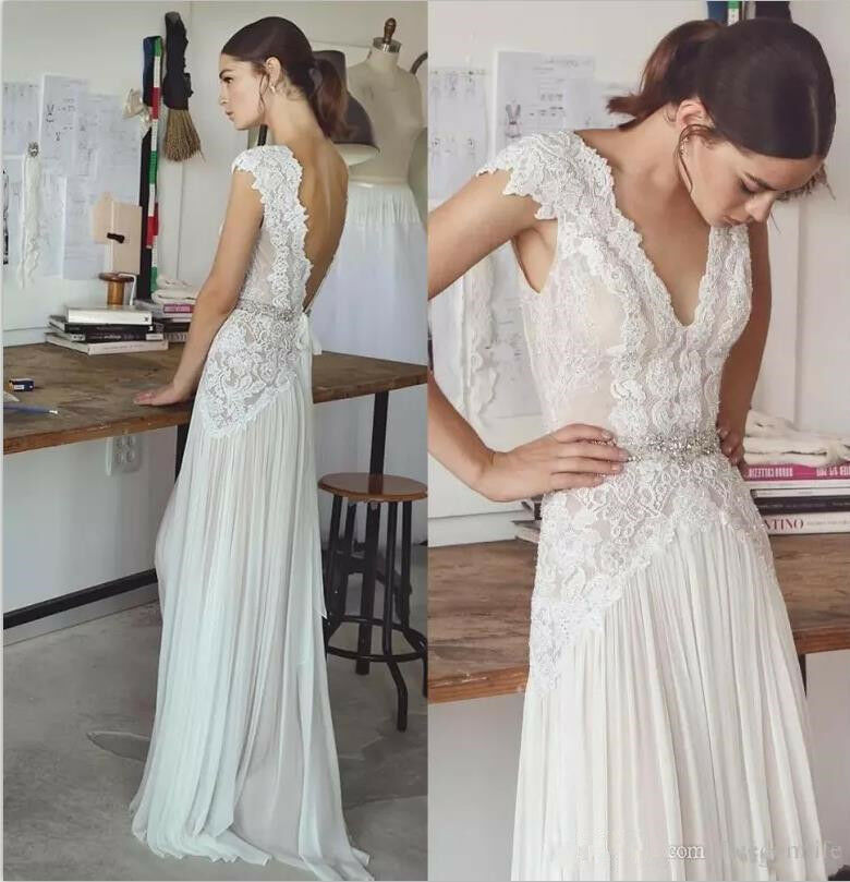 Stunning Boho Lace Chiffon Beach Wedding Dress V Neck