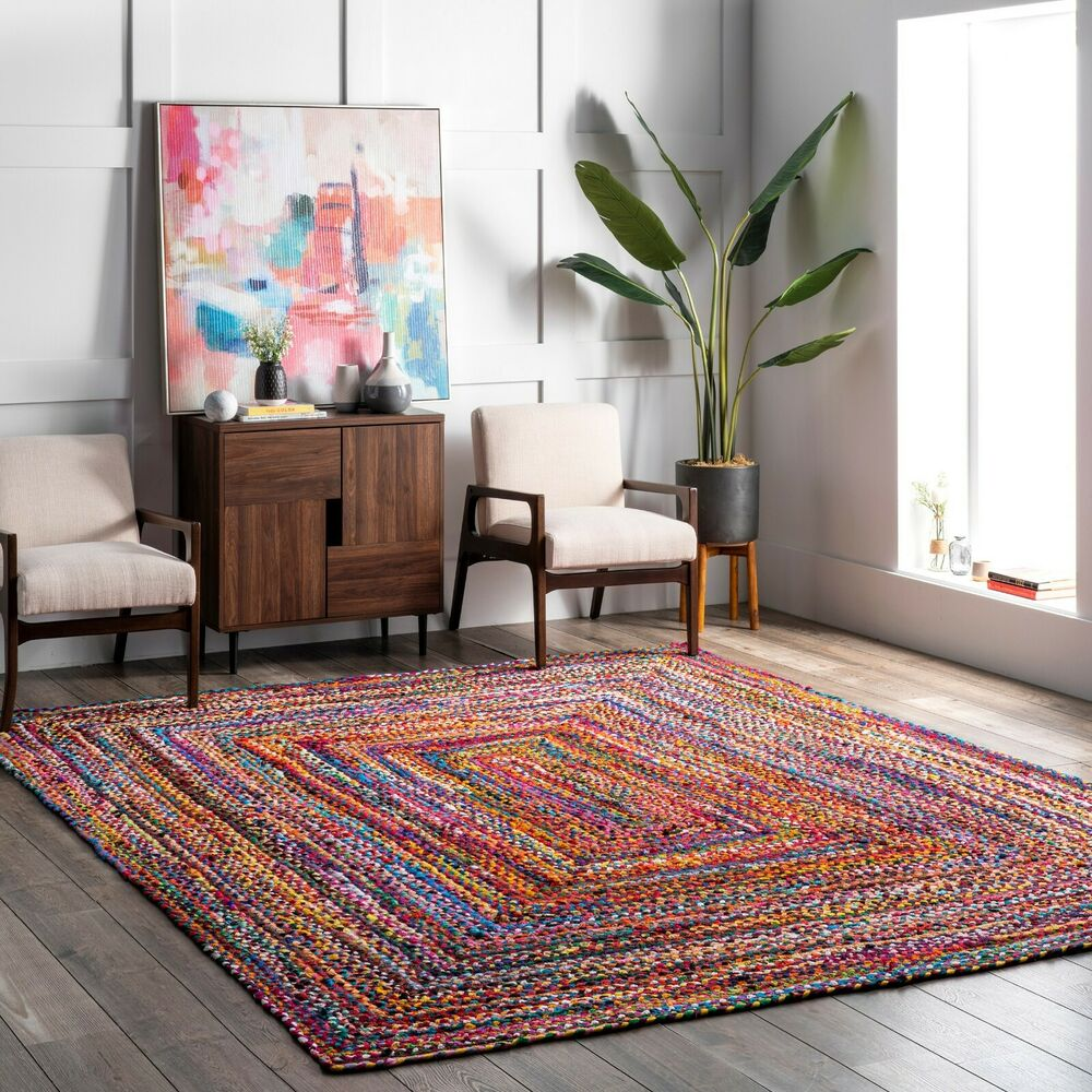 Nuloom Hand Made Bohemian Braided Cotton Area Rug In Multi