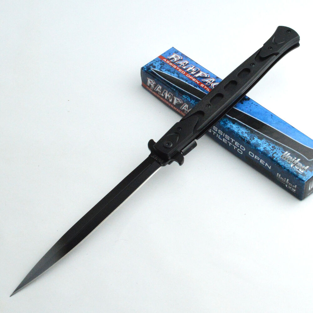 United Cutlery Knives: United Cutlery Rampage Stiletto Black Handle Assisted