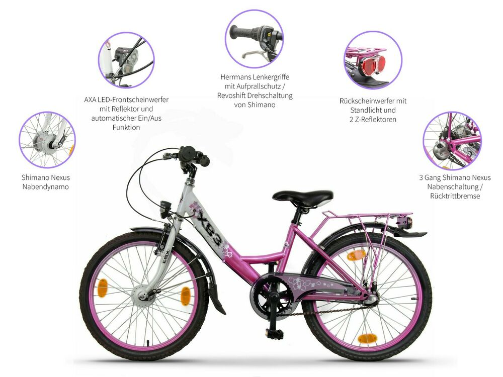 xb3 20 zoll kinderfahrrad stvzo led licht nabendynamo 3. Black Bedroom Furniture Sets. Home Design Ideas