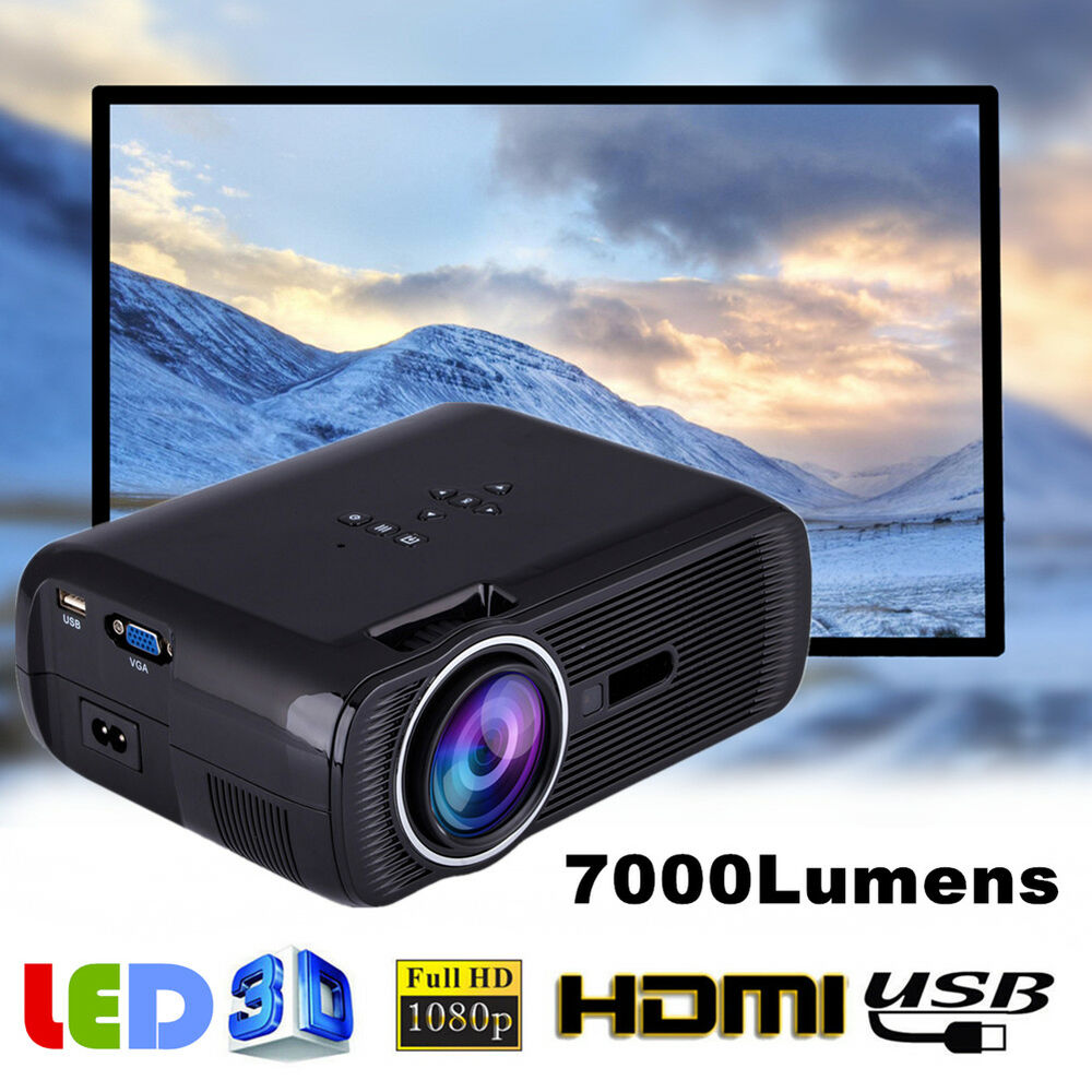Fuleadture Portable Led Projector 1080p Hd Multimedia: Mini 1080P Full HD LED Projector Home Theater Cinema 3D
