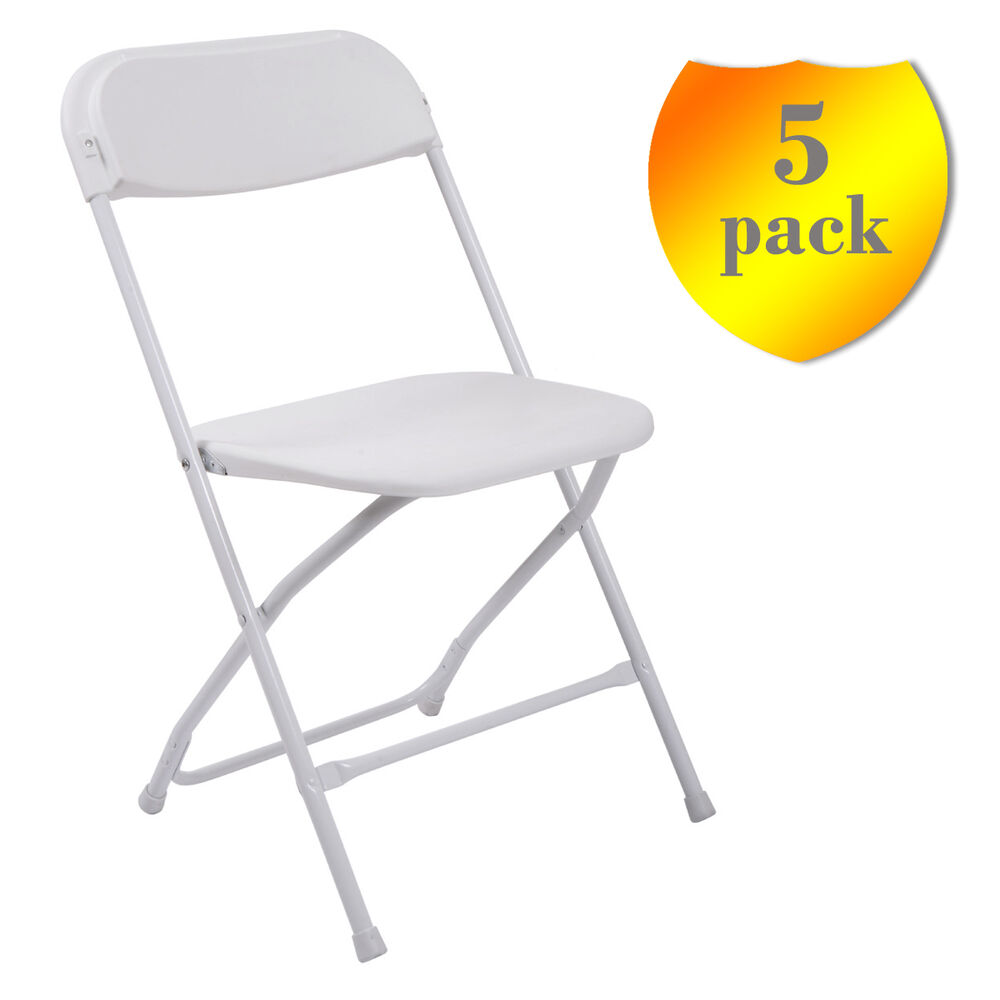 5 white commercial quality stackable plastic folding chair for Good quality folding chairs