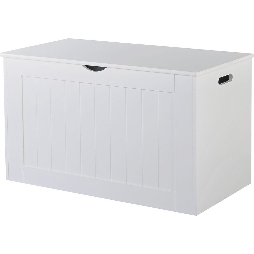 Large New Wooden Storage Box Diy Crates Toy Boxes Set: Large White Wooden Storage Box Chest Unit Trunk Hinged Lid
