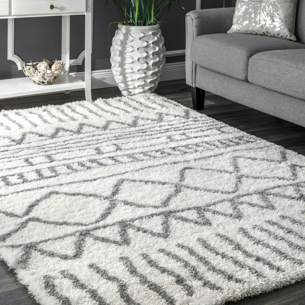 Nuloom Contemporary Modern Geometric Plush Shag In Grey