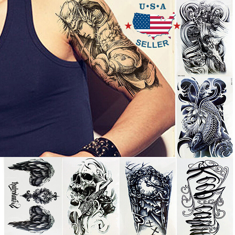 Long Sleeve Tattoo Sleeve For Black Men: 10 Sheets Temporary Tattoos Body Arm Tattoo Sticker Long