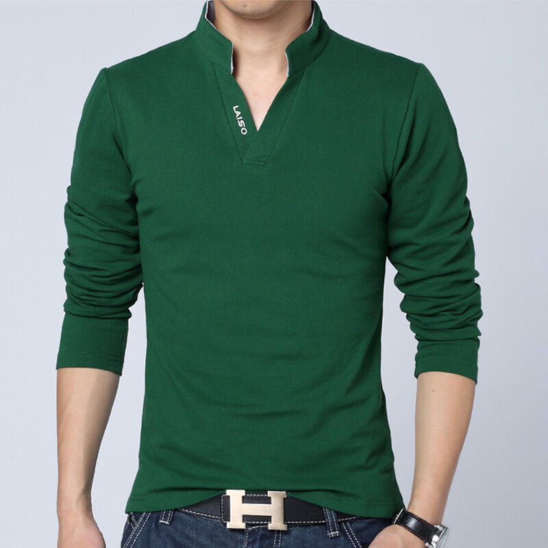 Hot Men Polo Collar Shirt Long Sleeved Casual T Shirt V