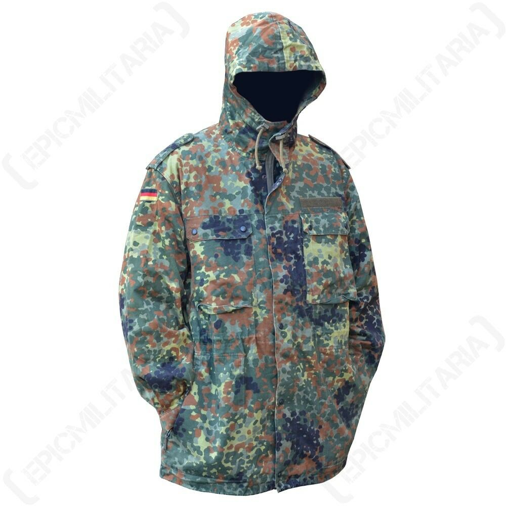 36b576120c3 Details about Original German Flecktarn Camo Parka With Liner - Winter Coat  Military Surplus