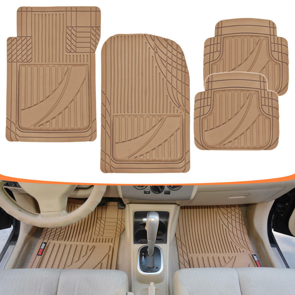 Bmw Car Mats Ebay >> FlexTough Performance Floor Mats for Auto Car SUV Truck Modern Beige Rubber | eBay