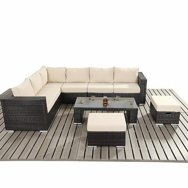 Modern Rattan Corner Sofa, Rattan Stools And Coffee Table Set   Garden  Rattan