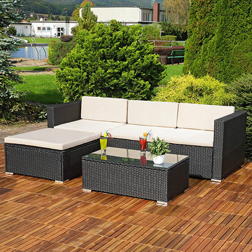 Rattan Corner Sofa Garden Set: RATTAN GARDEN FURNITURE SET CORNER SOFA LOUNGER TABLE