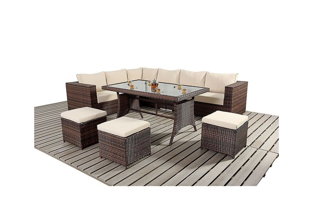 9 Seater Rattan Garden Furniture Sofa Dining Table Set